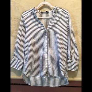 ZARA BASIC Women's Stripe Button Down Shirt
